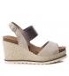 Sandalia de piel 066718 taupe -Altura cuña: 10cm-
