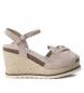 Sandalia de piel 066725 taupe  -Altura cuña: 10cm-