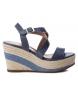 Sandalia de piel 066743 jeans -Altura cuña: 9cm-