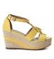 Compar Carmela Sandale en cuir 066776 jaune - Hauteur du coin : 9cm