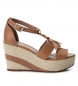 Compar Carmela Leather Sandal 066776 camel - Wedge height: 9cm