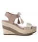 Sandalia de piel 066777 taupe -Altura cuña: 9cm-