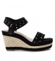 Compar Carmela Leather sandal 066813 black - Wedge height: 10cm-
