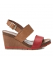 Sandalia de piel 066736 camel, rojo -Altura cuña: 11cm-