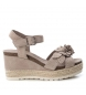 Compar Carmela Leather sandal 066811 taupe - Wedge height: 9cm