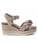 Sandalia de piel 066811 taupe -Altura cuña: 9cm-