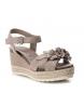 Comprar Carmela Sandalia de piel 066811 taupe -Altura cuña: 9cm-
