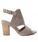 Sandalia de piel 066621 taupe -Altura tacón: 9cm-
