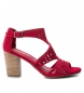 Sandalias de piel 066796 rojo -Altura tacón: 8cm-