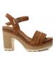 Sandalias de piel bios 066671 camel  -Altura tacón: 10cm-