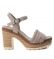 Compar Carmela Leather sandal 066671 taupe -Heel height: 10cm