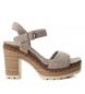 Sandalias de piel bios 066673 taupe -Altura tacón: 10cm-
