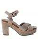 Sandalias de piel bios 066684 taupe -Altura tacón: 10cm-