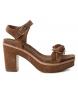 Sandalia de piel 066685 camel -Altura tacón: 10cm-