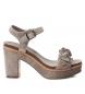 Compar Carmela Sandale en cuir 066685 taupe - hauteur talon : 10cm