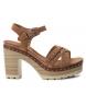Sandalia de piel 066686 camel -Altura tacón: 10cm-