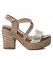 Sandalia de piel 066784 taupe -Altura tacón: 11cm-