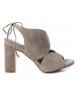 Sandalia de piel tacón 066632 taupe -Altura tacón: 10cm-