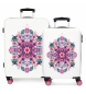 Juego de maletas 34L-70L Abanico rígidas rosa -38x55x20cm / 48x68x26cm-