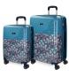 Compar Catalina Estrada Suitcase Catalina Estrada Faisan Rigid 55-69cm Blue