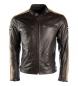 Dxr artesanal chaqueta de cuero marrón