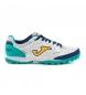 Zapatillas de piel Futsal Turf Top Flex 2032 blanco, turquesa