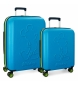 Compar Mickey Set of rigid Mickey Colored suitcases 55-68cm blue