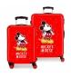 Juego de maletas Mickey letras rígidas 34 L / 70L en rojo -38x55x20 / 48x68x26cm-
