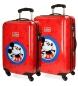 Set de maletas rígidas Hello Mickey rojo -37x55x20cm / 44x68x26cm-