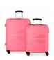 Juego de 2 maletas  rígidas 55-69 Movom Flash rosa -55x40x20cm / 69x49x28cm-
