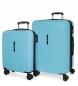 Compar Movom Juego de 2 maletas  rígidas 55-69 Movom Turbo azul celeste -55x40x20cm / 69x49x28cm-