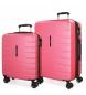 Compar Movom Set of 2 rigid suitcases 55-69 Movom Turbo pink -55x40x20cm / 69x49x28cm