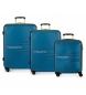 Juego de 3 maletas rígidas 55-69-79cm Movom Flash azul marino -55x40x20cm / 69x49x28cm / 79x56x33cm-