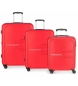 Juego de 3 maletas rígidas 55-69-79cm Movom Flash rojo -55x40x20cm / 69x49x28cm / 79x56x33cm-