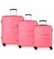 Juego de 3 maletas rígidas 55-69-79cm Movom Flash rosa -55x40x20cm / 69x49x28cm / 79x56x33cm-