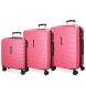 Compar Movom Set of 3 rigid suitcases 55-69-79cm Movom Turbo pink -55x40x20cm / 69x49x28cm / 79x56x33cm