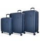 Juego de maletas Movom Wood rígido 55-65-75cm Azul Marino