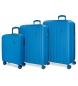 Juego de maletas Movom Wood rígido  Azulon -40x55x20cm / 45x65x28cm / 52x75x33cm-