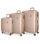 Juego de maletas Movom Wood rígido  Champagne -40x55x20cm / 45x65x28cm / 52x75x33cm-
