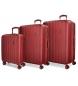 Juego de maletas Movom Wood rígido Rojo -40x55x20cm / 45x65x28cm / 52x75x33cm-
