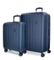 Juego de maletas Movom Wood rígido Azul Marino -40x55x20cm / 45x65x28cm-
