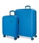 Juego de maletas Movom Wood rígido  Azulon -40x55x20cm / 45x65x28cm-