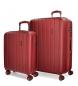Juego de maletas Movom Wood rígido 55-65cm Rojo