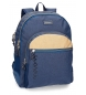 Mochila escolar Movom Babylon Azul doble compartimento -33x44x13,5cm- adaptable a carro