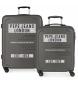 Juego de 2 maletas rígidas 37L / 80 L Peje Jeans Edison Gris -55x40x20 / 69x49x28cm-