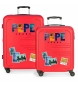 Juego de 2 maletas rígidas 37L / 80L Peje Jeans Edison Rojo -55x40x20 / 69x49x28cm-