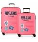 Juego de 2 maletas rígidas 37L / 80L Peje Jeans Edison Rosa -55x40x20 / 69x49x28cm-