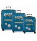 Juego de 3 maletas rígidas 37L / 80L / 125L Peje Jeans Edison Azul -55 x 40 x 20 / 69 x 49 x 28 / 79 x 56 x 33 cm-