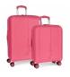 Juego de maletas Pepe Jeans Glasgow Rosa rígidas -40x55x20cm / 48x70x28cm-