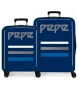 Juego de maletas Pepe Jeans Taking off rígidas 38,4L y 81L azul -55x40x20cm/70x48x28cm-